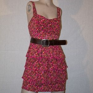 pink floral layered dress size 7
